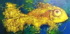 Pez oro/original al óleo sobre lienzo estirada por Sergej hahonin/30 X 60 Cm