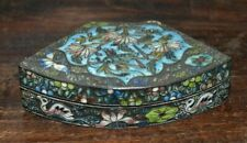 ANTIQUE SILVER METAL CHINESE REPOUSSE CLOISONNE ENAMEL BOX