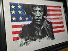 Justin Bua Jimi Hendrix 4/4 Pcs Gold Leaf USA 26 x 18.25 Art Print KAWS