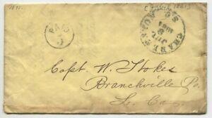 CHARLESTON SC JUL 9 1861 PAID 5 DT III to Capt William Stokes Branchville SC