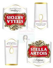 STELLA ARTOIS BOTTLE LABELS X2 EDIBLE PRINTED ICING CAKE TOPPER DECORATIONS