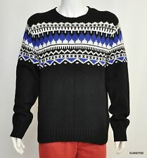 New $265 POLO Ralph Lauren Intarsia Cotton/Cashmere Sweater Pullover ~Black *XL