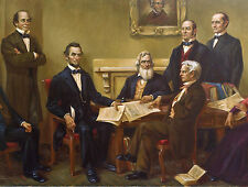 Lincoln Writing the Emancipation Proclamation Painting Real Canvas Art Print New