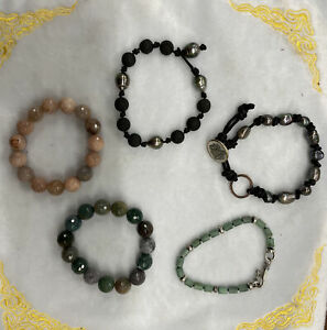 Love Heals & Artisan Five Bracelet Lot Lava Stone Gray Pearls Leather Gemstones