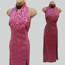 Karen millen vintage rose jacquard dos-nu style chinois long robe longue 10UK