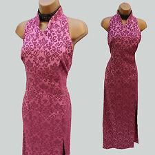Karen Millen Retro Rosa Jacquard Cuello Maxi Vestido Largo de estilo chino 10UK