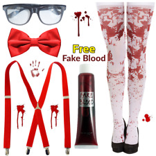 Halloween ZOMBIE School Girl Nerd HORROR Fancy Dress Costume 5 Piece Blood Set