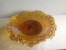 Iridescent Carnival Glass round plate by Indiana Glass in Amber Gold