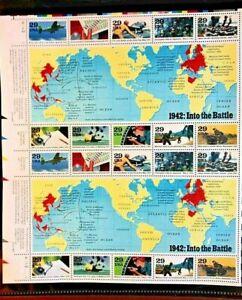 "1991 World War II 50th Anniv USPS ""1942: Into the Battle"" $.29 Mint Stamp Sheet"