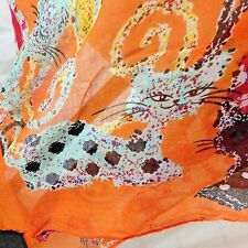 "Cats Scarf Feline Colorful 70"" x 38"" Orange Wrap with Kittens by Mountain Mamas"