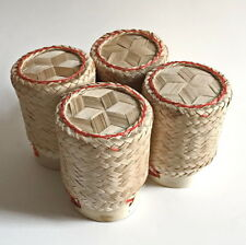 "Lot of 4 Thai Sticky Rice Bamboo Lao Basket Serving Container Handmade 3.5""."