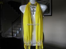 Yellow Fashion Jewelry Scarf w Decoration Cross Necklace Pendant B