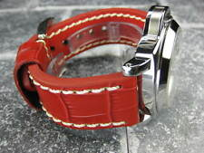 New BIG CROCO 26mm LEATHER STRAP Band Red with White Stitch PAM XV1