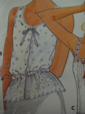 Vintage Butterick 5992 EYELET & RIBBON PEPLUM TOP CAMISOLE Sewing Pattern Women