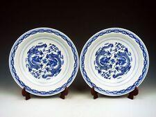"""Pair Blue&White QingHua Double Dragons Painted Porcelain Plates Home Decor 7"""" W"""
