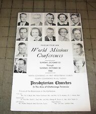 1960 Presbyterian WORLD MISSIONS CONFERENCES Program - Area of Chattanooga, TN