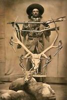 Antique Hunting Photo... Man Posing w/ Skull & Guns Vintage Photo Print 4x6