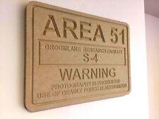 Area 51 S-4 UFO Alien Groomlake Sign / Plaque MDF 35cm x 25cm Wood Sci-Fi Xfiles