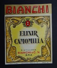 Ancienne étiquette ELIXIR CAMOMILLA camomille Bianchi & Cie TORINO Italie label