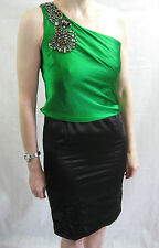 Karen Millen Size 6 8 Emerald Green and Black material Formal Dress