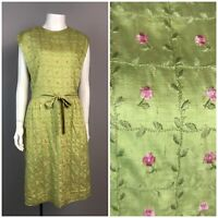 Vintage 50s Green Pink Floral Embroidered Sleeveless Belted Wiggle Dress M