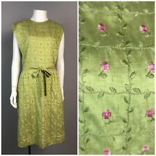Vintage 50s Green Pink Floral Embroidered Sleeveless Belted Wiggle Dress L