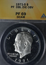 1971-S $1 Silver Proof Ike Dollar ANACS PF69DCAM - Doubled Die!!