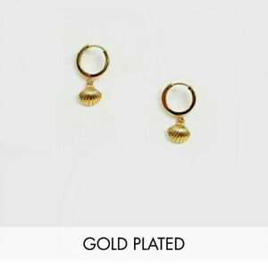 💎BNWT ORELIA Gold Plated Huggie Hoop Earrings Sea Shell Pendant Summer SOLD OUT