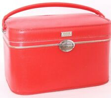 Amelia Earhart Red Pebbled Leather Carrying Handle Hard Makeup Train Case