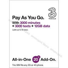 3 Three UK Europe Asia USA World 71 country 30Days PAYG Prepaid Roaming Data SIM