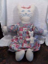 Vtg Handmade Stuffed Plush Kitty Mama With Baby Kitty in Apron Pocket