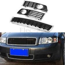 3Pcs Feux Phares Anti-Brouillards Pare -chocs Grille Pour Audi 02-05 A4 B6 Sedan