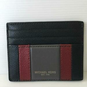 MICHAEL KORS WARREN BLACK STRIPED LEATHER TALL CREDIT CARD CASE HOLDER  MENS NEW