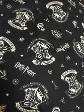 Harry Potter Hogwarts Emblem On Black Cotton Fabric Free Post By The FQ
