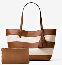 Michael Kors Bag Striped LG Ew Tote Bag And Clutch Nat Acorn New 30h6gu0t3c