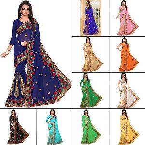 Designer Indische Bollywood Frauen Georgette Sari Party tragen Kleidung Saree