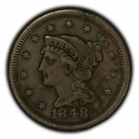 1848 1c Braided Hair Large Cent - XF Details - SKU-Y2788
