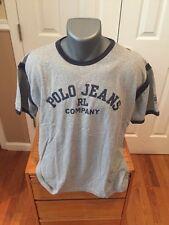 VTG Men's RL Polo Jeans Co. Spellout T-Shirt Ralph Lauren LARGE Gray Crew Neck