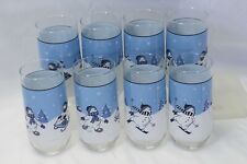 """Northcrest Home Snowman Winter Valley Glasses Tumblers 6"""" Lot of 8 Xmas"""