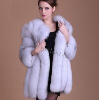 New Women's Long FOX FUR Coat Outwear Winter Warm Faux Fur Jacket Parka Overcoat