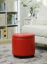 Convenience Concepts Designs4Comfort Round Accent Storage Ottoman With Lid, Red