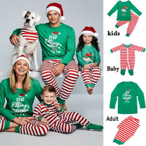 Family Matching Adults Kids Baby Christmas Elf Pyjamas Nightwear Pajamas PJs Set