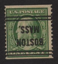 1910 US, 1c, Benjamin Franklin, Used, Sc 387, Inverted Boston Precancel, Cv 140$