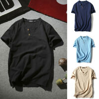 Man Casual Cotton Linen Short Sleeve V-Neck T-shirt Blouse Tee Loose Tops Summer