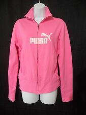 Puma Womens Size Small Pink Zip Front Long Sleeve Knit Jacket