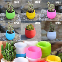 5pcs Set Mini Round Succulent Pot Small Flowers Plant Planter Home Desktop Decor