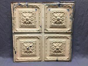 "Antique Decorative Tin Metal Ceiling 2' x 2' Shabby Vtg 24"" SQ Chic Old 11-20B"