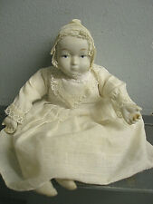 Vintage Porcelain Bisque Doll with Cloth Body & Dress Bonnet, Night Gown & Socks
