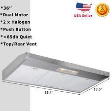 36'' Under Cabinet Dual Fan Kitchen Stove Stainless Steel Range Hood 30W Light