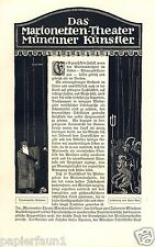 Das Marionetten Theater Münchner Künstler 12 S Bericht von 1912 München 20 Abb -